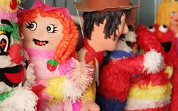 Piniata. A few piniatas await their fate at a store in mexico Stock Image