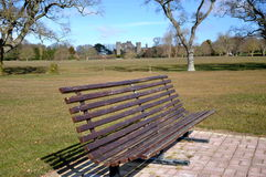 Pinic bench at castle Stock Images