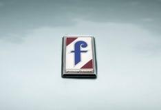 Pininfarina logo emblem. MOSCOW, RUSSIA - May 21, 2017. Pininfarina logo emblem on car hood Royalty Free Stock Images
