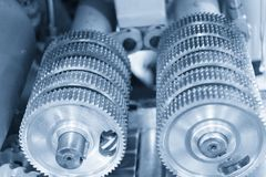The pinion gear on the shaft Stock Image