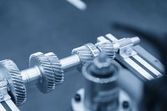 The pinion gear on the shaft Royalty Free Stock Photos