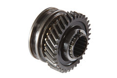 Pinion gear synchronizer gearbox car, isolated, on a white backg Royalty Free Stock Photo