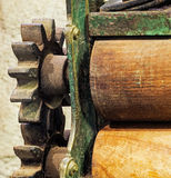 The pinion gear with wheel of old mechanical  device Royalty Free Stock Photography