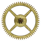 Pinion of old clock mechanism, isolated on white background.  Royalty Free Stock Photos