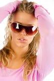 pink женщина свитера нося Стоковое фото RF