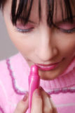 Pink. Make-up of a  dressed young girl Royalty Free Stock Image