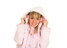Pink. Young blond girl in the pink jacket Stock Photo