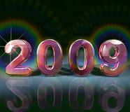 Pink 2009. An artistic illustration in pink color of the year 2009 with lens flare effects Royalty Free Stock Photos