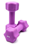 Pink 3 kg dumbbells in a neoprene cover Royalty Free Stock Photo