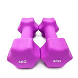 Pink 3 kg dumbbells in a neoprene cover Stock Photos