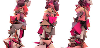 Pink 3d abstract growing spiked shape on white Royalty Free Stock Photo