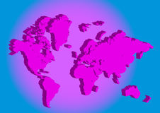 Pink 3d world map. In blue background vector illustration