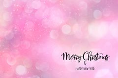 Pink abstract backdrop with Christmas quote. Pink abstract backdrop with bokeh and falling snow effect. Merry Christmas and Happy New Year quote. Great for vector illustration