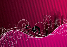 Pink abstract background. A pink abstract background with white swirls stock illustration