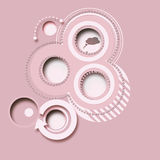 Pink abstract background, buttons 2d. Six buttons 2D, abstract design, pink background, decorated with bright white motif Royalty Free Stock Image