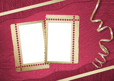 Pink abstract background with frame. And gold lacet Royalty Free Stock Photo