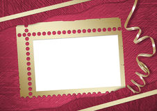 Pink abstract background with frame. And gold lacet Stock Images