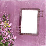 Pink abstract background with frame. And floral beautiful bouquet Stock Photo