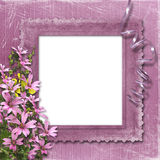 Pink abstract background with frame. And floral beautiful bouquet Stock Photography