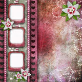 Pink abstract background with frames. And flowers Royalty Free Illustration