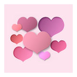 Pink Abstract Background Hearts. For a Valentine Day. Can be used for Love Letter, Card, Valentines day Celebration, design, etc. Scope and Clipped Depth on Stock Photos