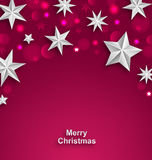 Pink Abstract Celebration Background with Silver Stars for Merry Christmas Royalty Free Stock Images
