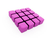Pink abstract cubes background. Rendered isolated Vector Illustration