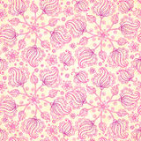 Pink abstract doodle flowers seamless pattern Royalty Free Stock Images