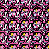 Pink abstract flowers on a black background seamless pattern Stock Images