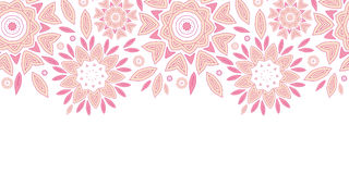 Pink abstract flowers horizontal seamless pattern. Vector pink abstract flowers horizontal seamless pattern background Royalty Free Stock Image