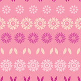 Pink abstract flowers stripes seamless pattern Stock Photos