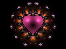 Pink abstract heart. Computer generated fractal pink heart Royalty Free Stock Photo