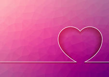 Pink abstract mosaic - triangular background with line and heart Stock Image