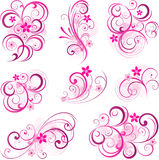 Pink abstract scroll flowers background Royalty Free Stock Images