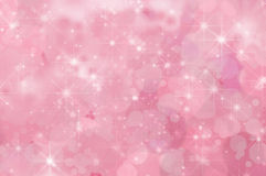 Pink Abstract Star Background. A pink, twinkling star filled abstract background with misty clouds and bokeh stock illustration