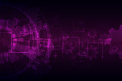 Pink abstract technological background with various technological elements Royalty Free Stock Images