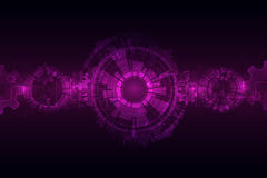 Pink abstract technological background with various technological elements Stock Photo