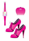Pink accessories. Beautifull shoes and watch for woman Royalty Free Stock Photos