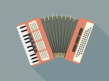 Pink Accordion. Flat Design Vector Illustration Of A Pink Accordion Stock Photo