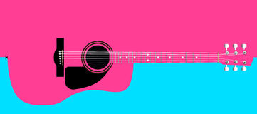 Pink Acoustic Guitar Background Stock Images