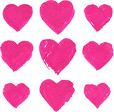Pink acrylic color painted hearts set Royalty Free Stock Images