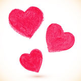 Pink acrylic color painted hearts set Stock Photography