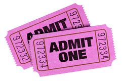 Pink admit one tickets isolated white background. Pink admit one tickets isolated white stock photo