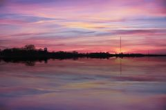 Pink afterglow. In Haapsalu city, Estonia royalty free stock photography