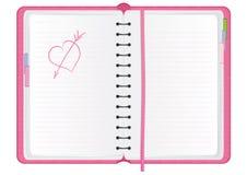 Pink agenda. With hand drawn heart, illustration stock illustration