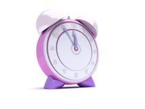 Pink alarm clock. 3d render of pink alarm clock showing 12:55 time Royalty Free Stock Photos