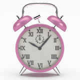 Pink alarm clock. The alarm clock as a symbol of the rush of the modern world Royalty Free Stock Photos