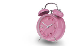 Pink alarm clock with the hands at 10 and 2 Royalty Free Stock Image