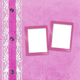 Pink album for photos with jeans Stock Images