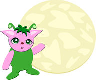 Pink Alien and Moon Royalty Free Stock Photos